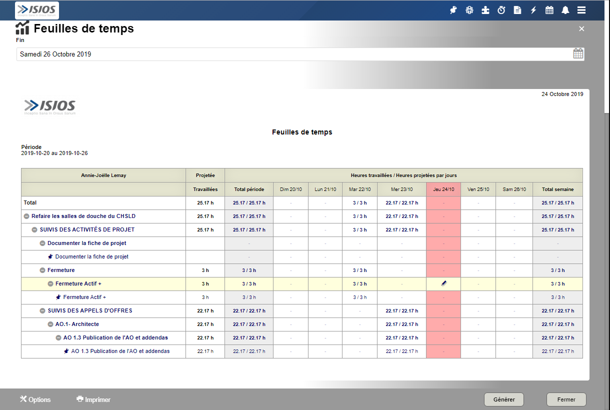 Screenshot Timesheets